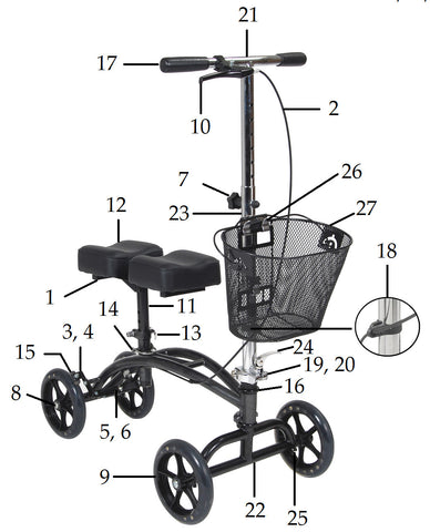 Replacement Parts for Drive Steerable Knee Walker - Model 796