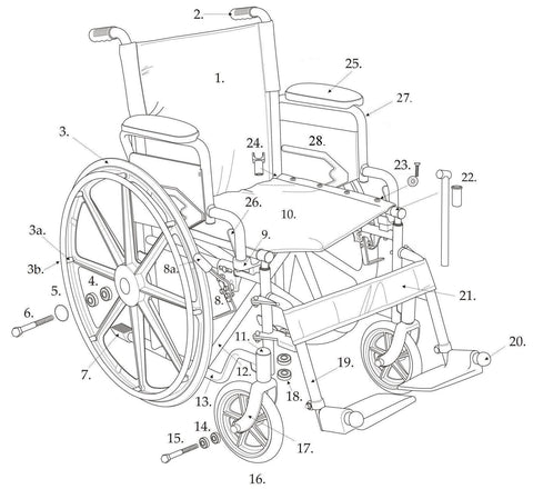 Drive Replacement Parts for Blue Streak Wheelchair - BLS18FBD
