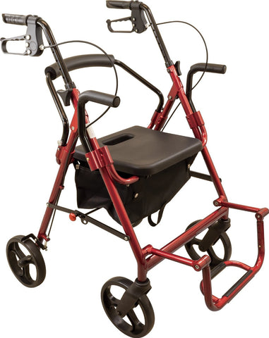 The Deluxe Transport Rollator combines the features of a rollator and a transport chair in one unit