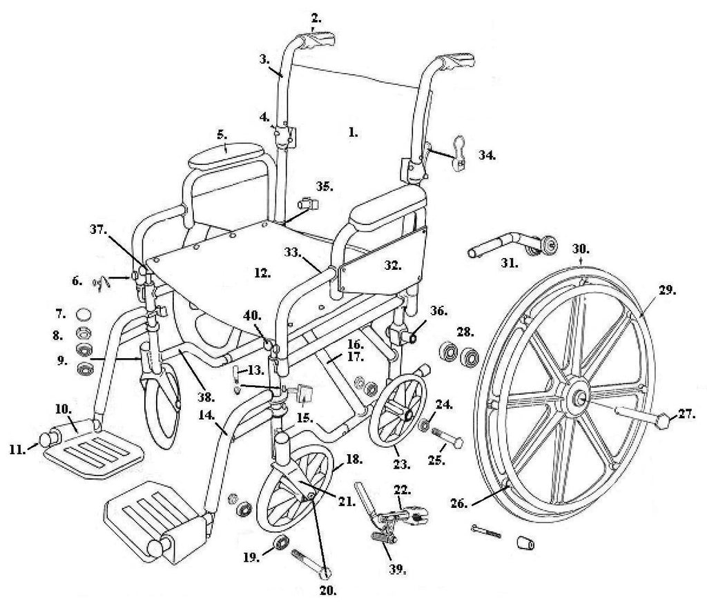 Drive Replacement Wheelchair Parts for TR16, TR18, TR20 - Poly-Fly High  Strength, Lightweight Wheelchair/Flyweight Transport Chair Combo - All  Parts