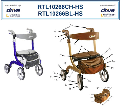 Replacement Parts for Drive's Nitro DLX Rollator – Models RTL10266CH-HS & RTL10266BL-HS