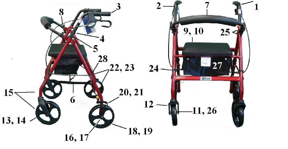 Drive Rollator Replacement Parts for Model RTL728