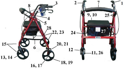 Drive Rollator Replacement Parts for Model RTL728 - Home Health Superstore