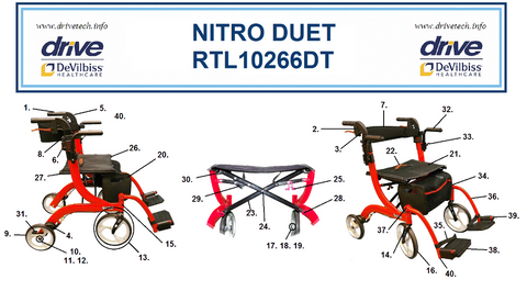 Drive Nitro Duet Replacement Parts for the Rollator and Transport Chair Combination Unit Item # RTL10266DT - Home Health Superstore