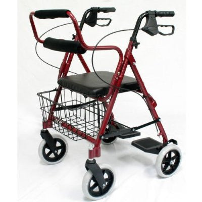 Roscoe Rollator/Transport Chair - Available in Red or Blue