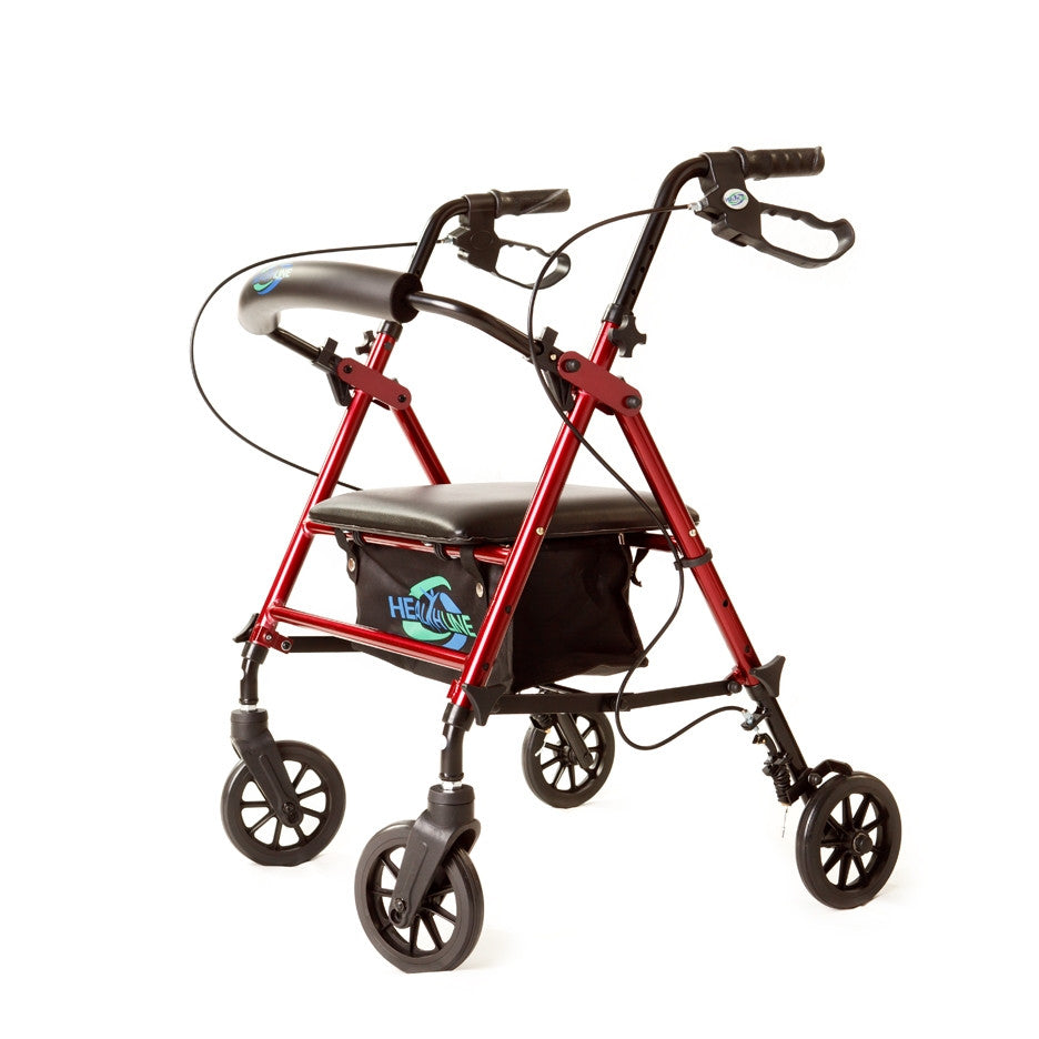 HealtLine Rollator with Adjustable Seat Height - Available in Red or Blue