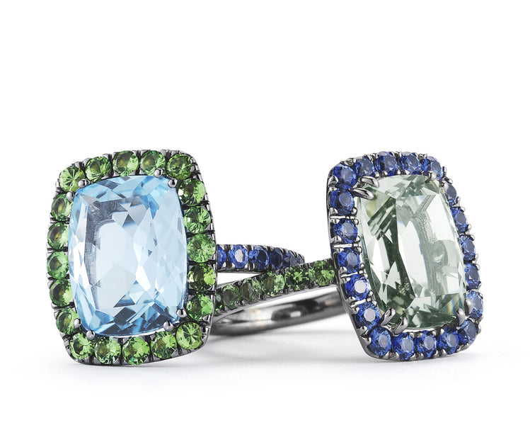 A-FURST-DYNAMITE-COCKTAIL-RINGS-BLUE-TOPAZ-PRASIOLITE-BLACKENED-GOLD