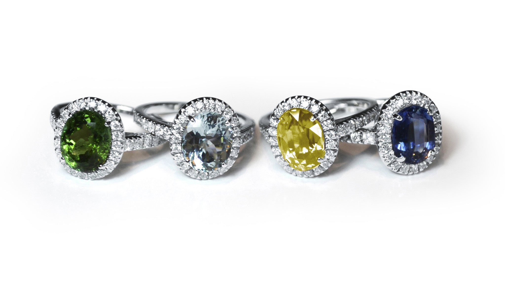 A-FURST-LES-MAGNIFIQUE-HALO-RINGS-GREEN-TORMALINE-AQUAMARINE-YELLOW-SAPPHIRE-KYANITE-DIAMONDS-WHITE-GOLD