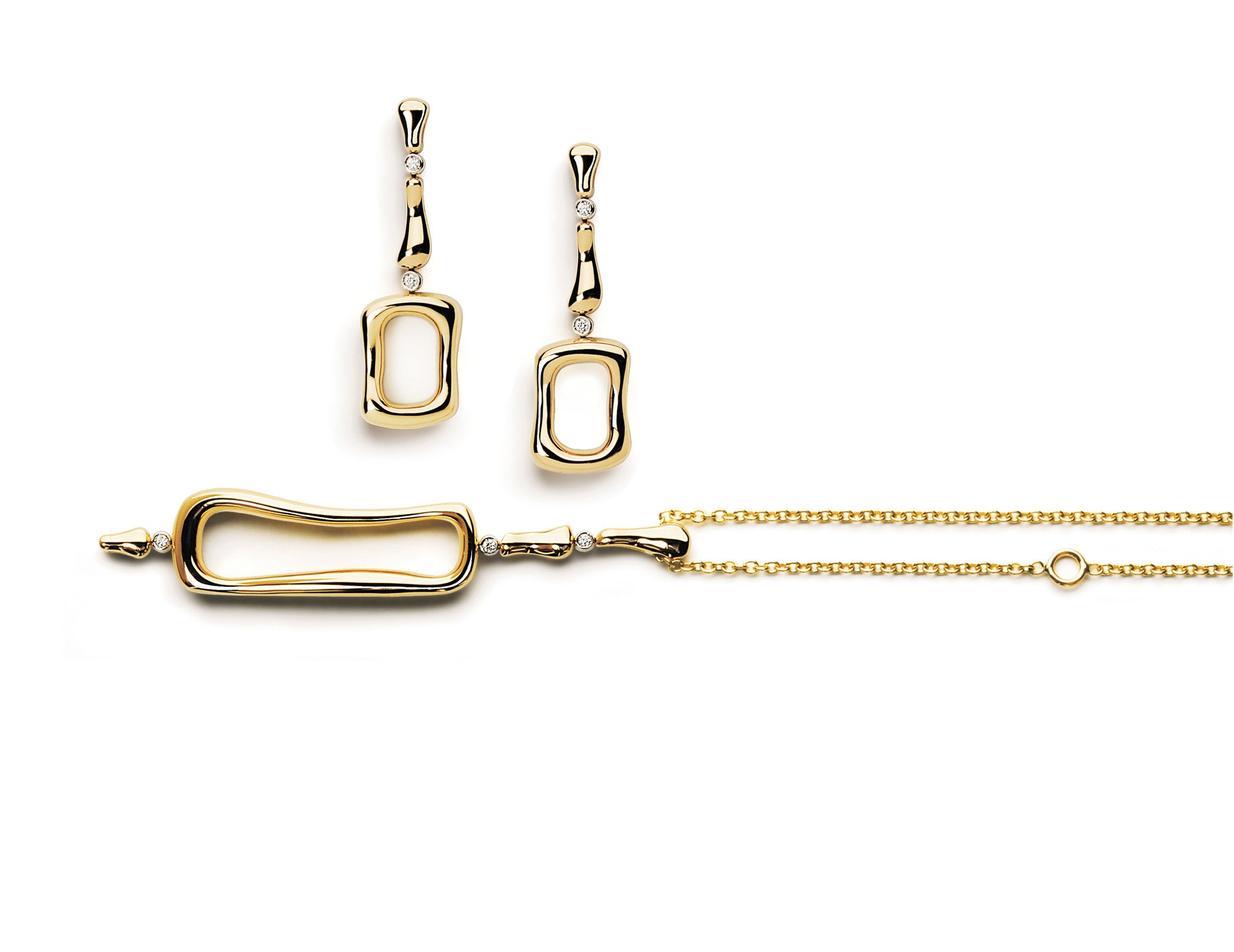 A-FURST-LES-BOIS-DROP-EARRINGS-PENDANT-NECKLACE-YELLOW-GOLD