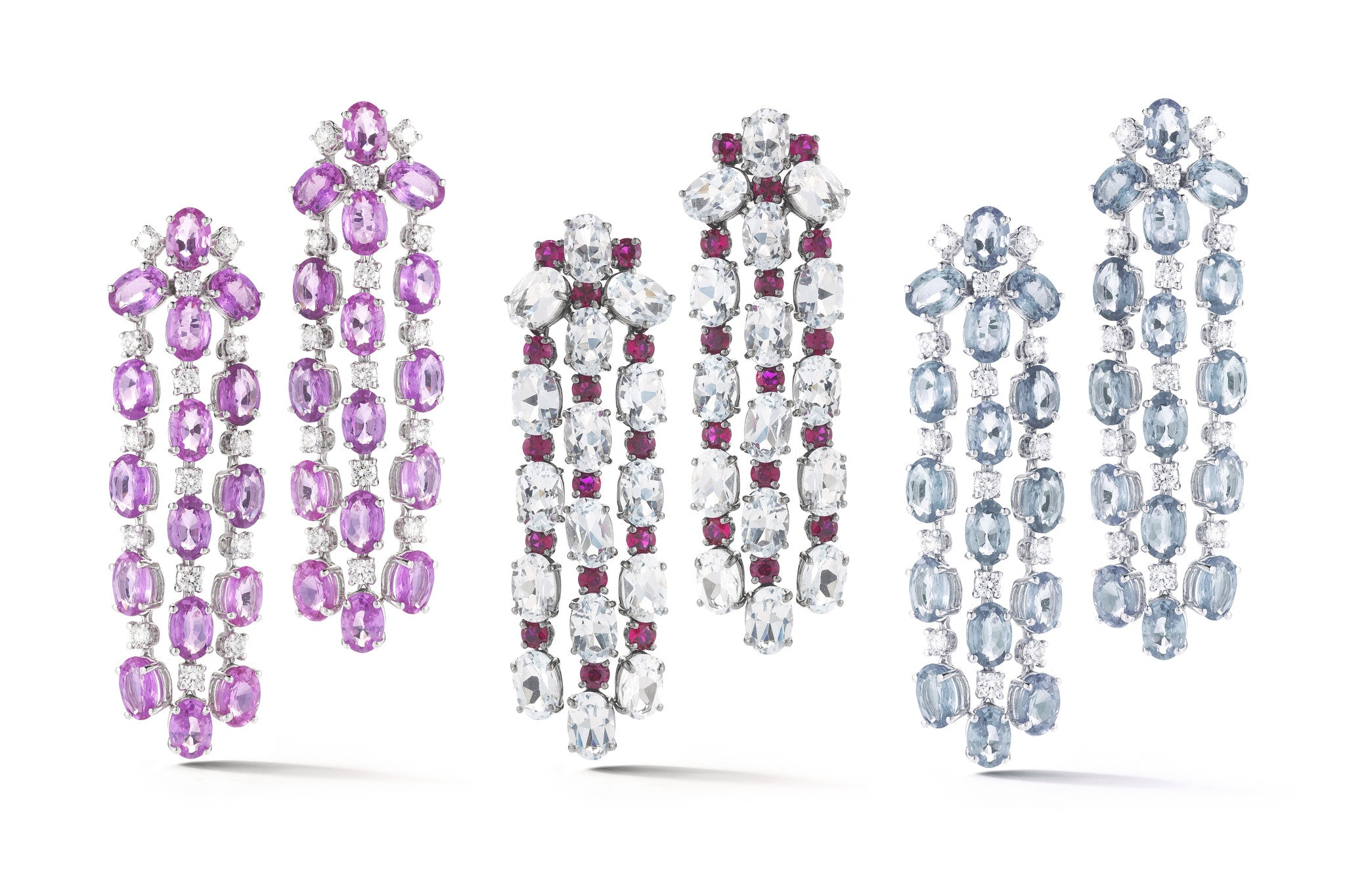A-FURST-NIGHTLIFE-CHANDELIER-EARRINGS-PINK-SAPPHIRES-WHITE-TOPAZ-RUBIES-AQUAMARINE-DIAMONDS