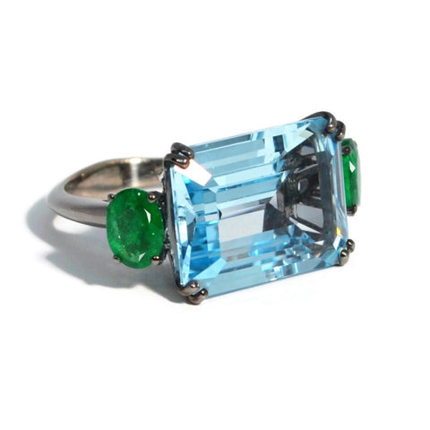Party - Cocktail Ring with Blue Topaz and Emeralds, 18k Blackened Gold