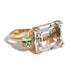 Party - Cocktail Ring with White Topaz and Mint Garnet, 18k Rose Gold