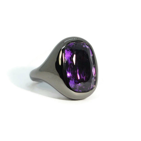 Essential - Cocktail Ring with Amethyst, Blackened Silver