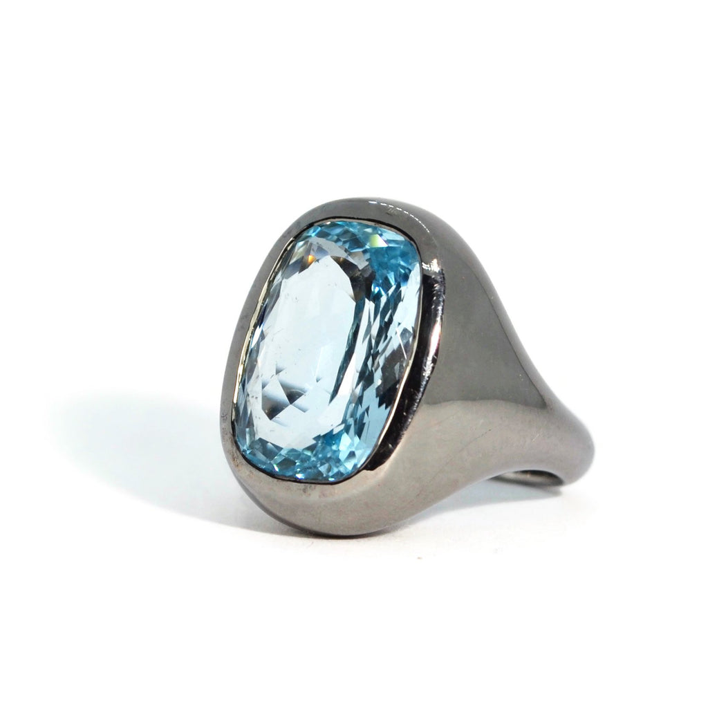 Essential - Cocktail Ring with Sky Blue Topaz, Blackened Silver