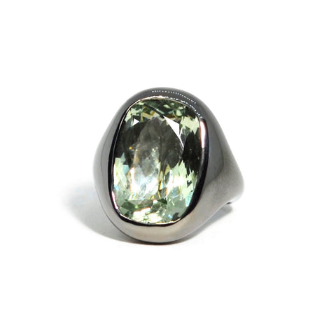 Essential - Cocktail Ring with Prasiolite, Blackened Silver