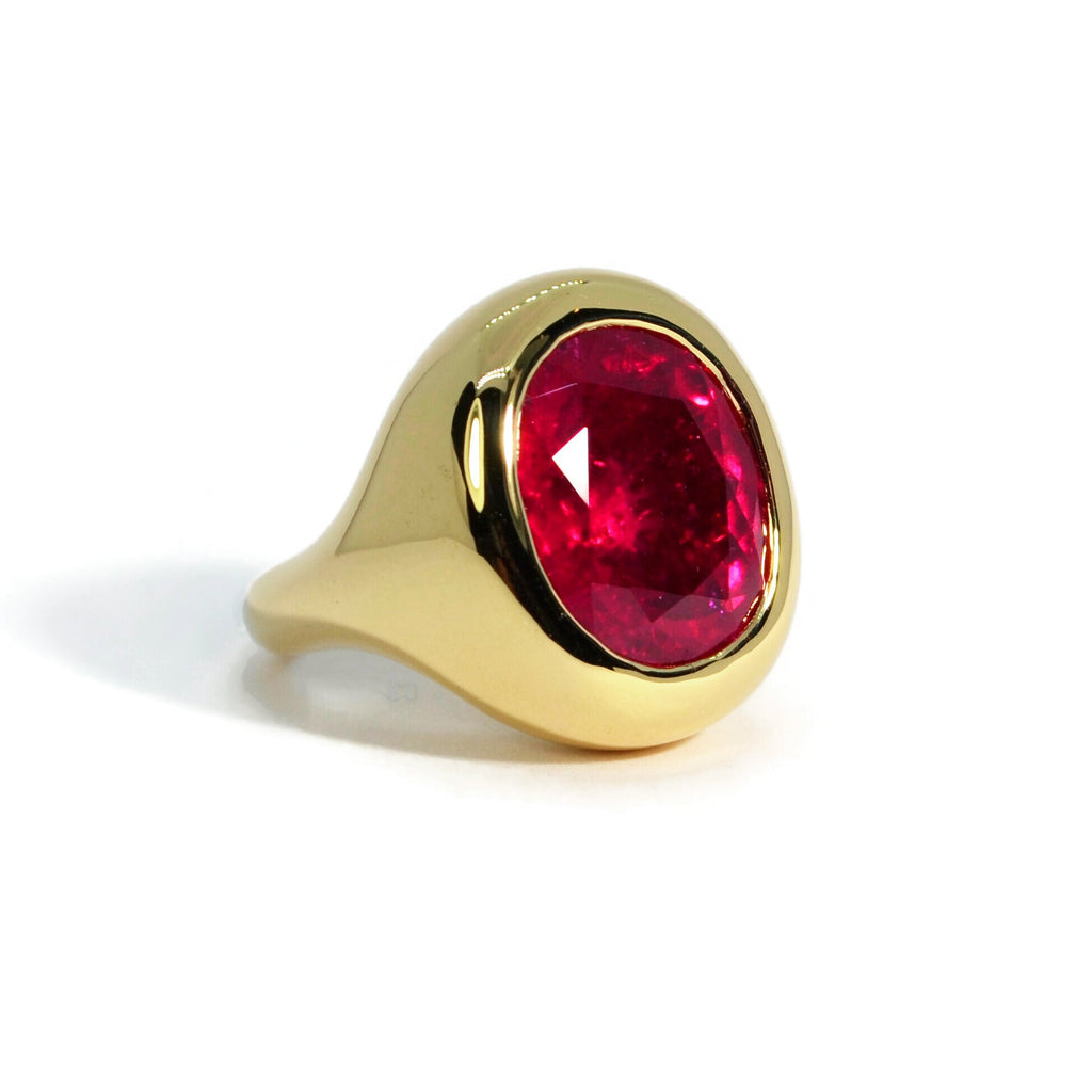 Essential - One of a Kind Cocktail Ring with Rubellite, 18k Yellow Gold