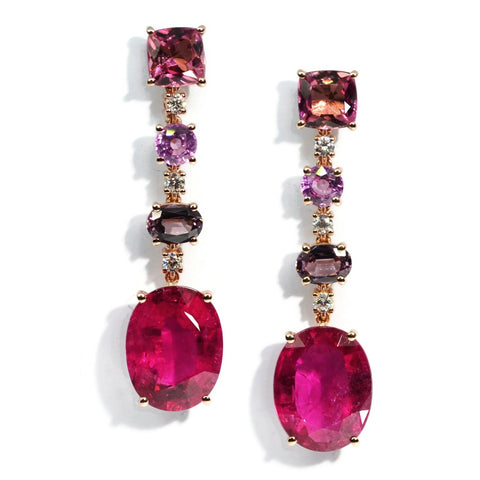 Party - One of a Kind Drop Earrings with Pink Tourmaline, Pink Sapphires, Purple Spinels, Rubellite and Diamonds, 18k Rose Gold