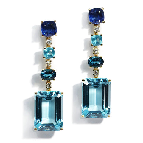 Party - Drop Earrings with Kyanite, Apatite, London and Sky Blue Topaz, and Diamonds, 18k Yellow Gold