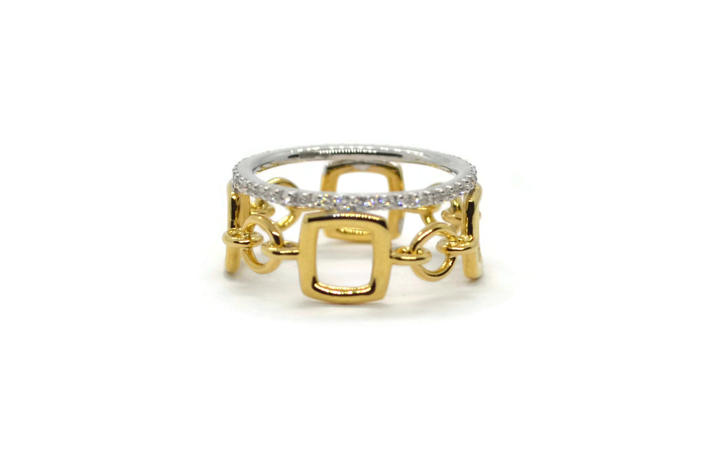 Gaia Oro - Band Ring with Diamonds, 18k Yellow and White Gold - A & Furst