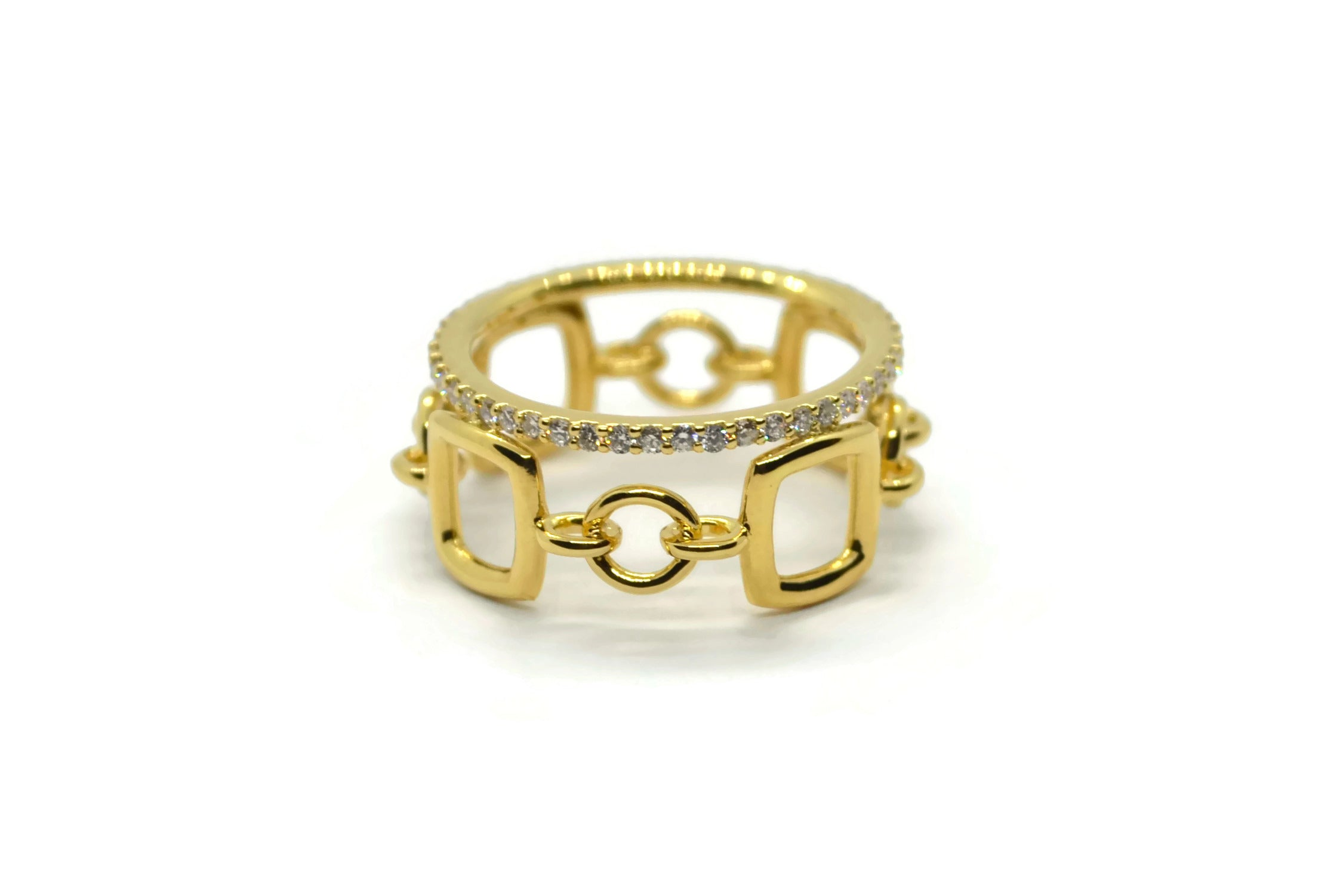Gaia Oro - Band Ring with Diamonds, 18k Yellow Gold - A & Furst