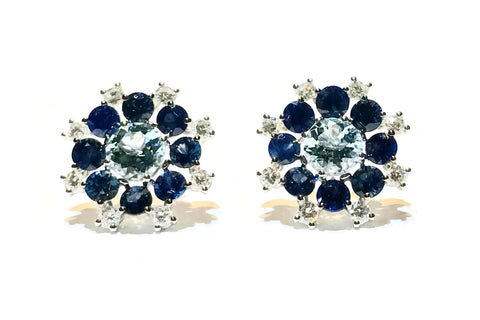 Pop - Cluster Earrings with Aquamarine, Blue Sapphires and Diamonds, 18k White Gold.