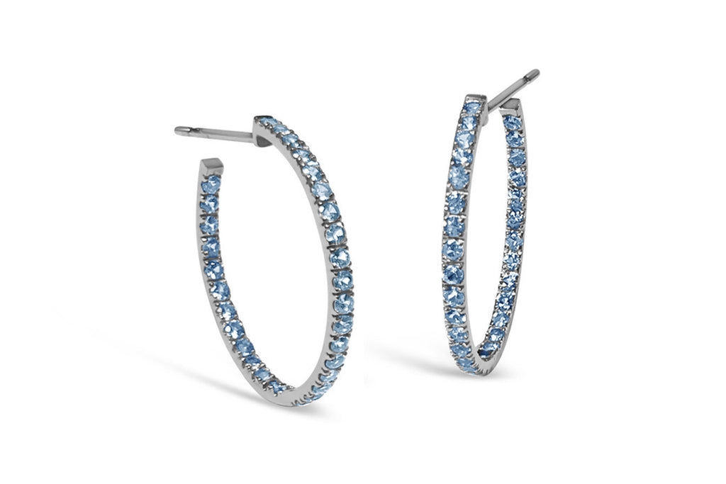France - Hoop Earrings with Blue Topaz insiade-out, French-set, 18k Blackened Gold.