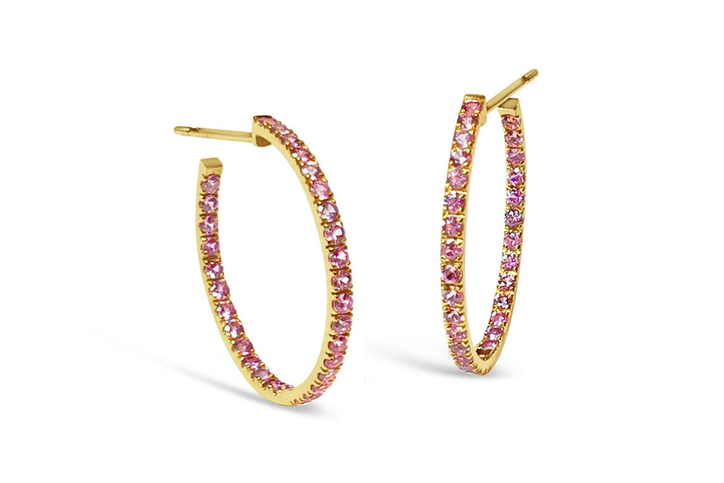 France - Hoop Earrings with Pink Sapphires insiade-out, French-set, 18k Rose Gold.