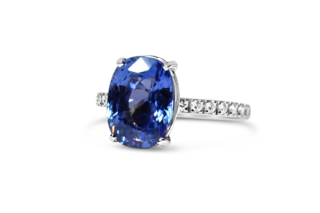 France - Ring with Cushion Ceylon Blue Sapphire and Diamonds, 18k White Gold.