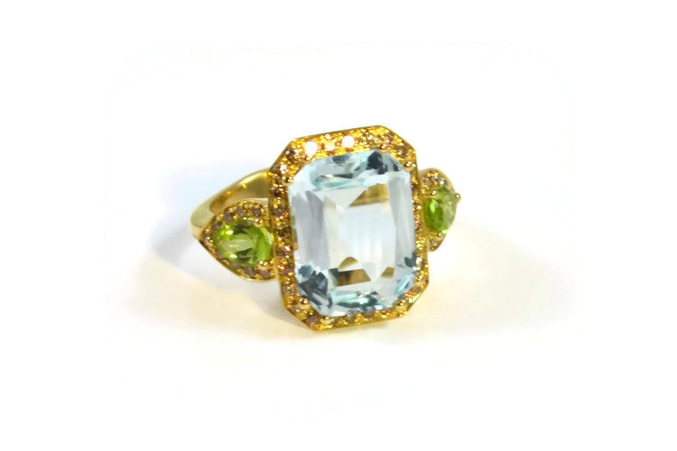 Jennie - Cocktail Ring with Blue Topaz, Peridot and Yellow Sapphires, 18k Yellow Gold.