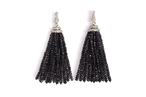 Les Bois - Tassels Earrings with Black Spinel and Diamonds, 18k White Gold.