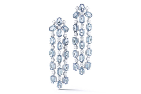 Nightlife - Chandelier Earrings with Aquamarine and Diamonds, 18k White Gold