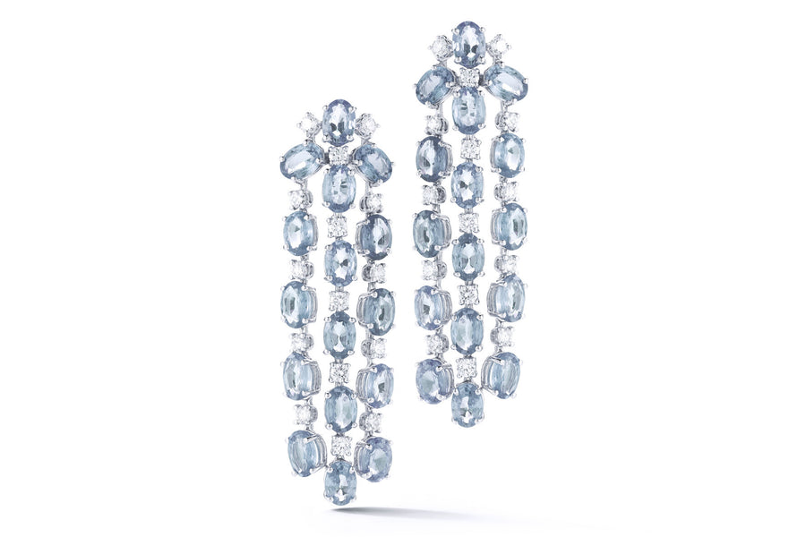 Nightlife - Chandelier Earrings with Aquamarine and Diamonds, 18k White Gold.