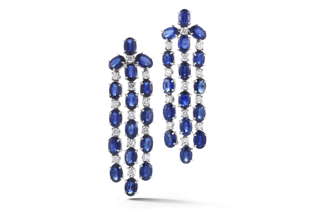 Nightlife - Chandelier Earrings with Blue Sapphires and Diamonds, 18k White Gold