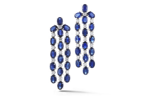 Nightlife - Chandelier Earrings with Blue Sapphires and Diamonds, 18k White Gold.