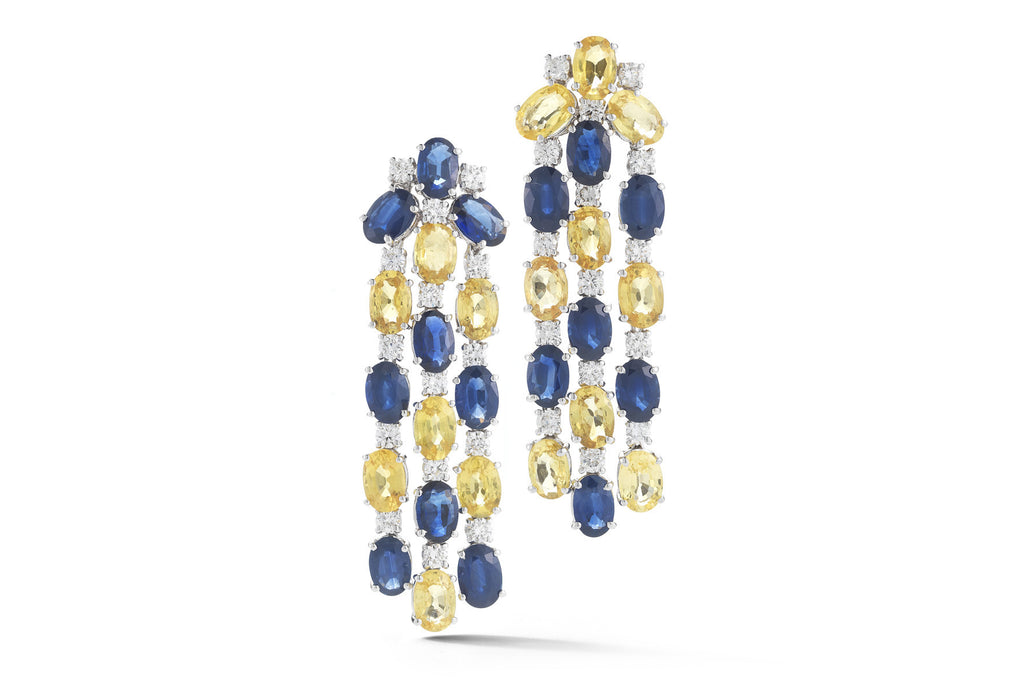 Nightlife - Chandelier Earrings with Blue, Yellow Sapphires and Diamonds, 18k White Gold.