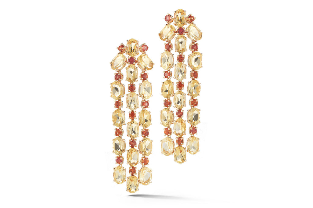 Nightlife - Chandelier Earrings with Citrine and Orange Sapphires, 18k Rose Gold