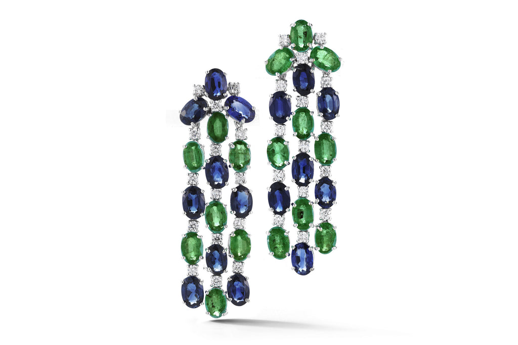Nightlife - Chandelier Earrings with Emeralds, Sapphires and Diamonds, 18k White Gold.