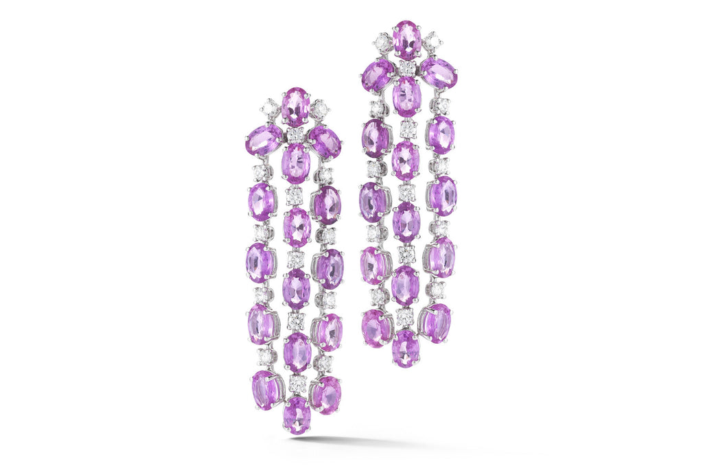 Nightlife - Chandelier Earrings with Pink Sapphires and Diamonds, 18k White Gold