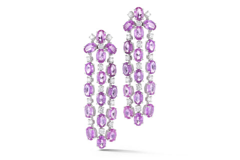 Nightlife - Chandelier Earrings with Pink Sapphires and Diamonds, 18k White Gold.