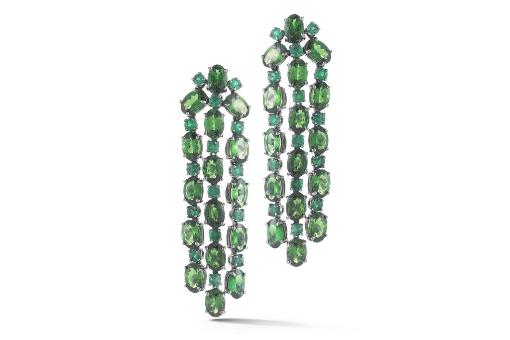 Nightlife - Chandelier Earrings with Tsavorite and Emeralds, 18k Blackened Gold.