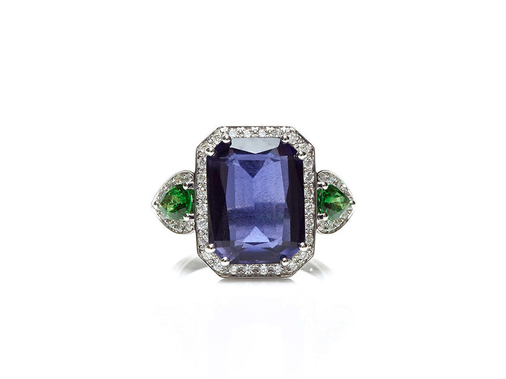 Jennie - Cocktail Ring with Iolite, Tsavorite Garnet and Diamonds, 18k White Gold.