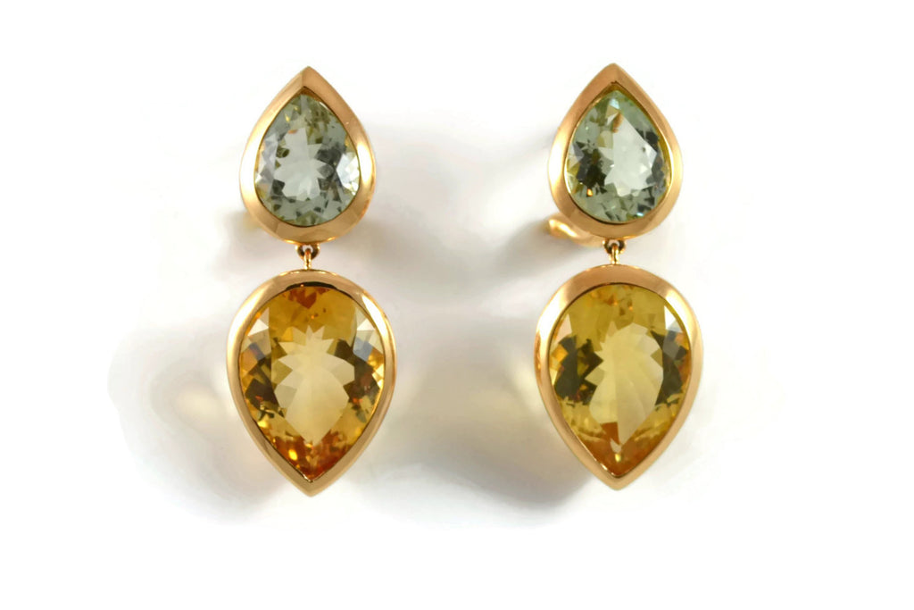 Picnic - Drop Earrings with Prasiolite and Citrine, 18k Rose Gold.
