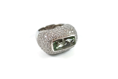 Jennie - Ring with Green Amethyst (Prasiolite) and Diamonds, 18k White Gold.