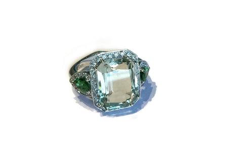 Jennie - Cocktail Ring with Prasiolite, Emeralds and Diamonds, 18k White Gold.