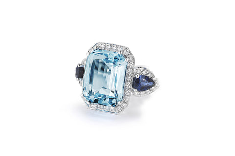 Jennie - Cocktail Ring with Blue Topaz, Blue Sapphires and Diamonds, 18k White Gold.