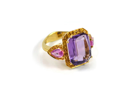 Jennie - Cocktail Ring with Amethyst, Pink Sapphires and Yellow Sapphires, 18k Yellow Gold.