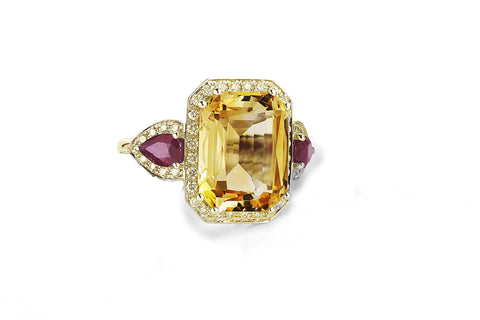 Jennie - Cocktail Ring with Citrine, Rubies and Diamonds, 18k Yellow Gold.