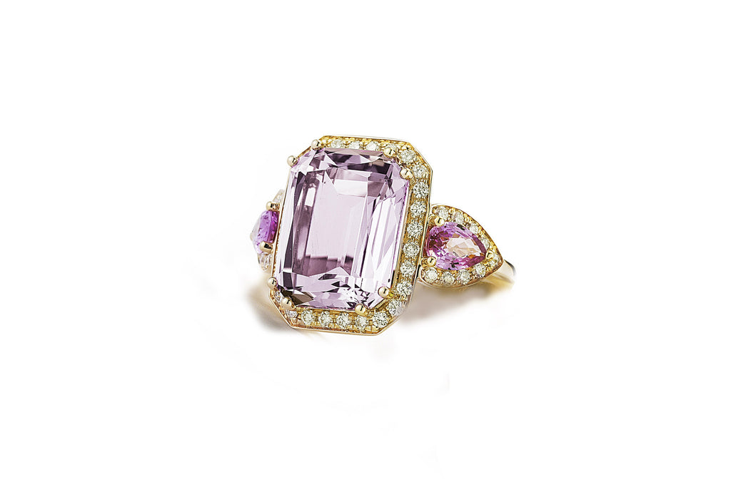 Jennie - Cocktail Ring with Rose de France, Pink Sapphires and Light Brown Diamonds, 18k Yellow Gold.