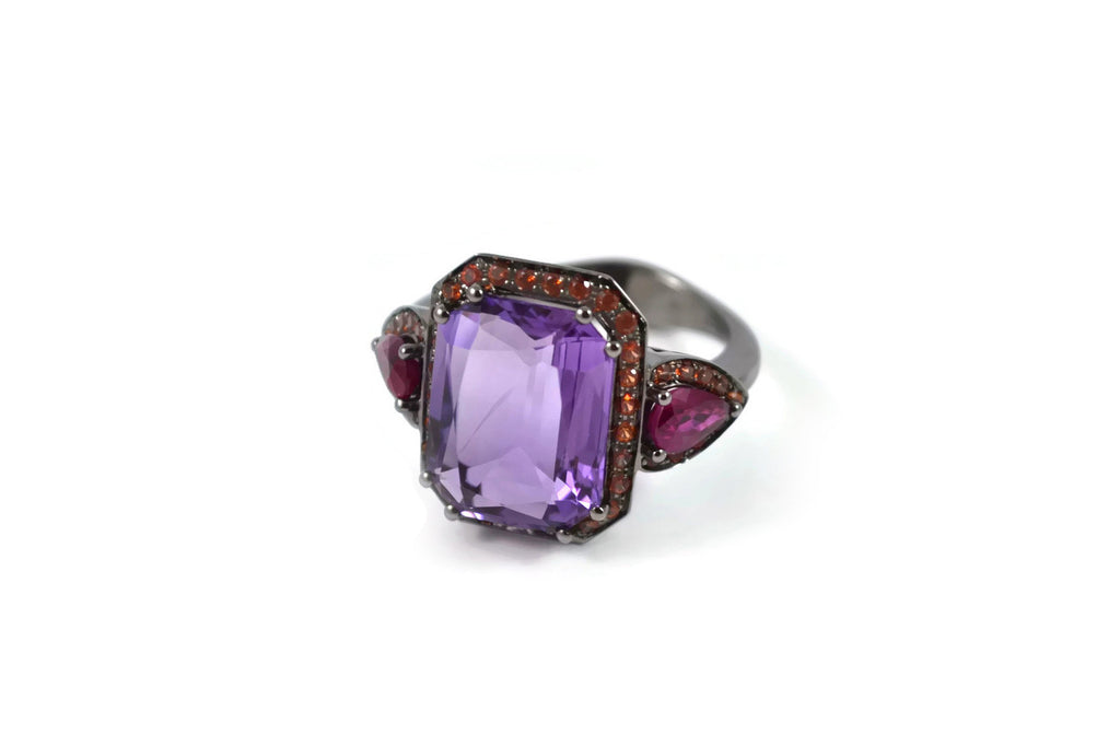 Jennie - Cocktail Ring with Amethyst, Rubies and Orange Sapphires, 18k White Gold with Black Rhodium.