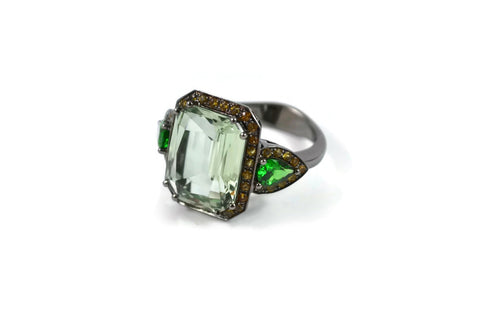 Jennie - Cocktail Ring with Green Amethyst (Prasiolite), Tsavorite Garnet and Yellow Sapphires